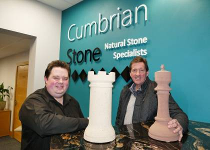 Sam Morris Sales & Marketing Manager for Cumbrian Stone with Richard Utting, Chairman of Penrith Agricultural Society.